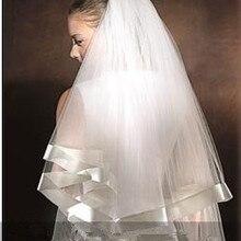 Фата, свадьба один слой свадебная вуаль цвета слоновой кости мягкий фатин свадебная фата Недорогие свадебные аксессуары Veu de Noiva