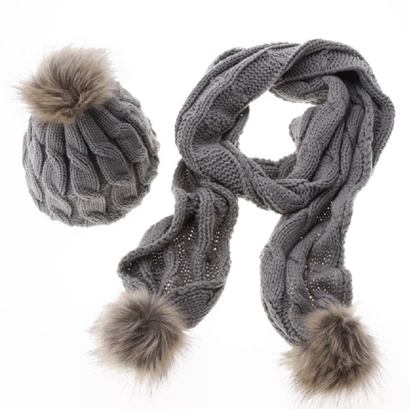 Women Pattern Wool Knit Scarf Hat Set Autumn Winter With Hair Ball 8 Word Newest