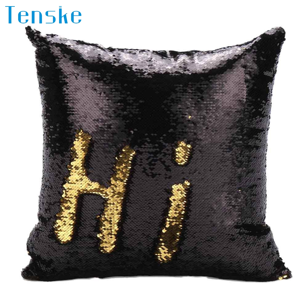 hot Best New Created Hot DIY Two Tone Glitter Sequins Throw Pillows Decorative Cushion Case Sofa Car Covers drop shipping Aug16