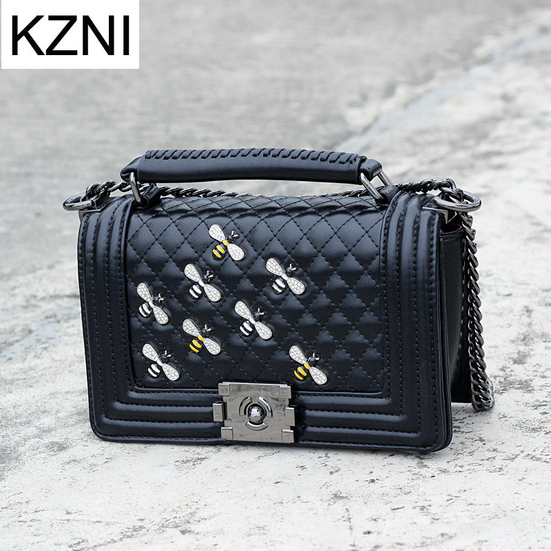 KZNI Genuine Leather Handbags Women Messenger Bag Female Purses and Handbags Chain Bag Bolsa Feminina Sac a Main Femme 7031-4 white women bag purses and handbags sac a main femme fashion genuine leather shoulder bags 2016 hollow out lady composite bag