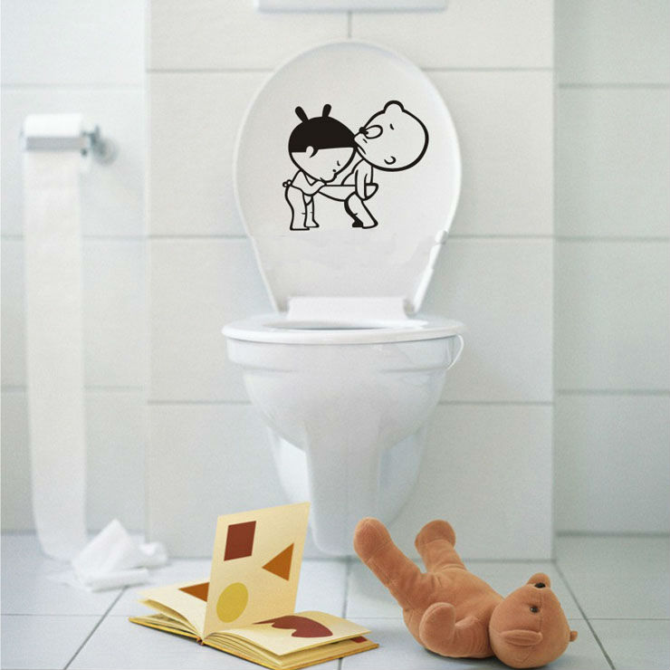 Cute Cartoon Home Decor Toilet Wall Stickers Bathroom