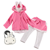 2018 Childre Suit Long Sleeved Pullover Kids Cartoon Cute Rabbit Ears Hooded Sweatshirts Cotton Leggings Sport