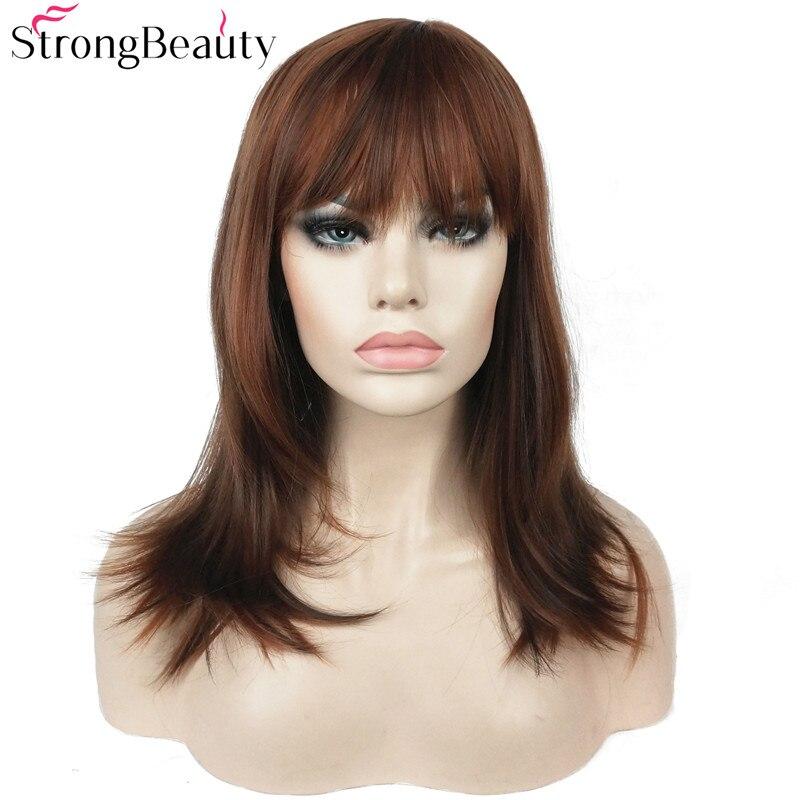 Fuerte belleza sintética larga recta pelucas Auburn Mix Bob Neat - Cabello sintético
