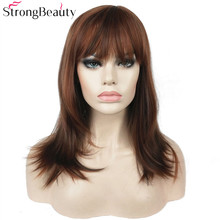 Strong Beauty Synthetic Long Straight Wigs Auburn Mix Bob Neat Bang Hairstyle for Women Full Wig trendy full bang capless brown highlight bob style short straight synthetic wig for women
