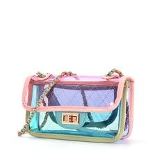 Bolsas Feminina Transparent Bag 2018 New Style Chao Ins Super Fire Mini Jelly Satchel, Small Fragrant Wind Diamond Chain Bag.