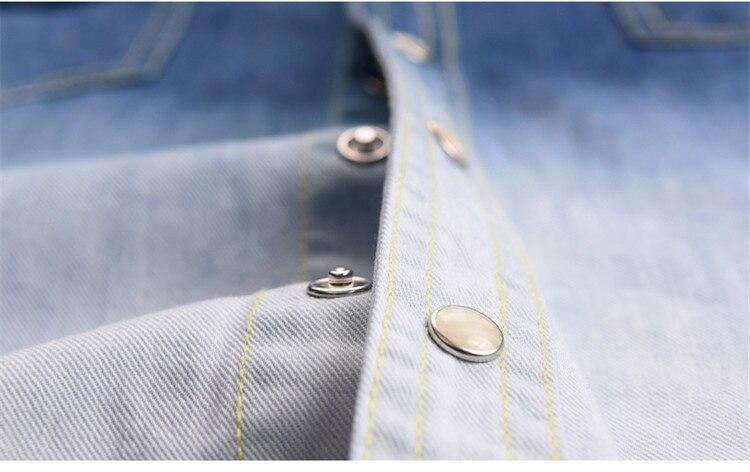 Markenkleidung 100% Baumwolle Herrenhemd Denim Jeans Herrenhemden - Herrenbekleidung - Foto 4
