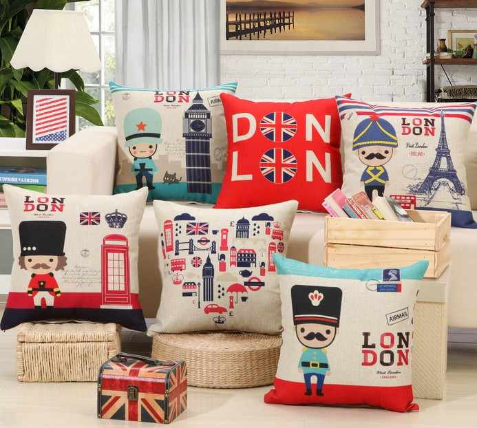 Love London Uk Clock Tower Decorative Pillows Covers 45x45cm Royal Solider Pillow Bed Cushions Cover Seat Coussin Couvrir B80