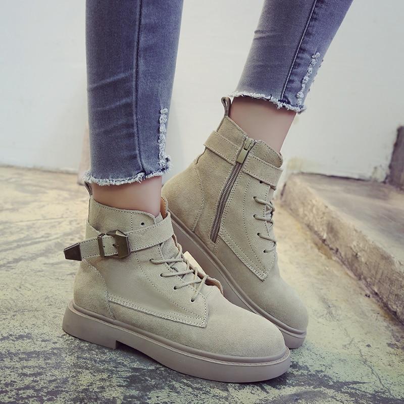 negro Beige Para Mujeres Planos Zapatos Encaje Damas Bota Maduro De Beige Vaqueros Botas Nuevas Mujer Tobillo Estilo Ocio Las Plataforma Tacones Otoño 2018 vFHqnBxE