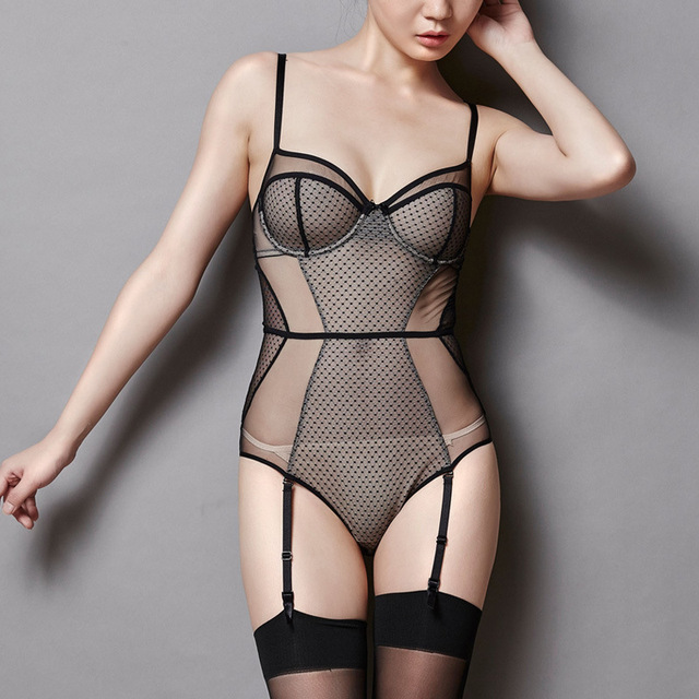 2016 Through the skin restoring ancient ways splicing gauze sexy ultra-thin jumpsuit conjoined underwear garment + suspenders