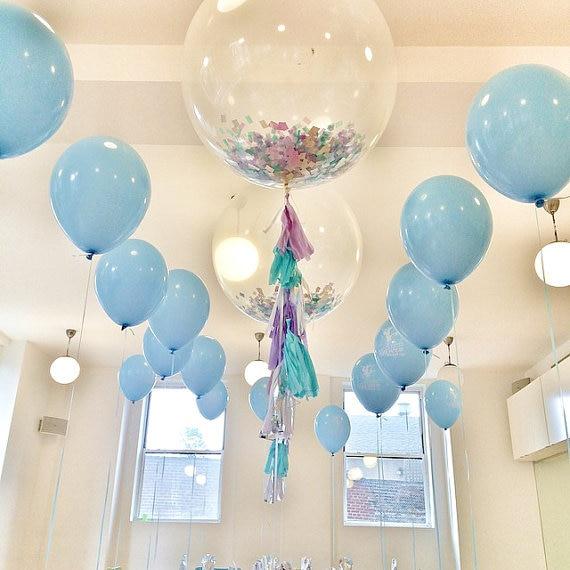 Birthday Wedding Bridal Shower Party Decoration Kit 2pcs Fun 36inch Clear  Confetti Balloons+20pcs 12inch