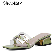 Bimolter Summer Transparent PVC Slippers Sandals Women slippers Fashion Women Sandals Solid Slides Square Heels Big size FC043 byqdy fashion women summer slippers sexy buckle thin heels women slippers sandals slides shoes size 35 40 big promotion black