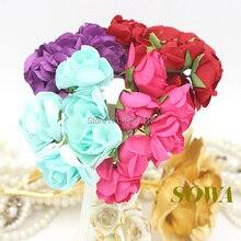 Бесплатная доставка 2.5 см глава многоцветный Mulberry Бумага букет/Провода вынос руля/Скрапбукинг Искусственные цветы розы (72 шт./лот)