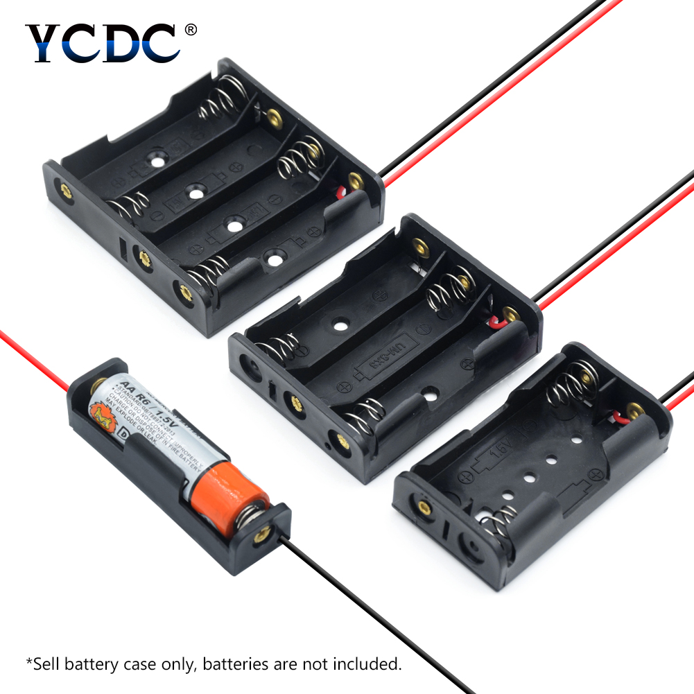Battery Storage Box Case Holder Leads with 1X 2X 3X 4X Multi Purposes DIY AA Battery Holder LR6 Container+Lead Cables