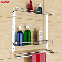 Bathroom Shelves 304 stainless steel double wall stainless steel bathroom towel rack shelf three thick