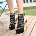 Sexy Sandálias 2016 Plataforma de Moda de Salto Alto Sapatos de Cabeça de Peixe Selvagem Rebites Borla Mulheres Sandálias 1 Tamanho 34-40