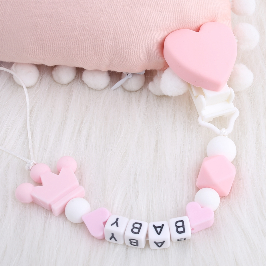 Bite Bites 1PC Baby Pacifier Chain Customize Baby Name BPA Free Acrylic Letters Chewable Crown Dummy Chain Feeding Baby Products