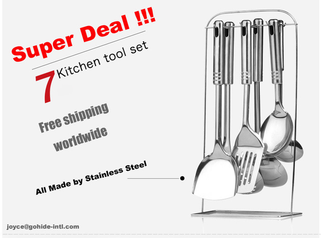 -Super Deal Big sale for cooking utensils 7pcs/set stainless steel cookware stainless steel kitchenware spatula shovel spoon