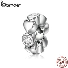 BAMOER REAL 925 Sterling Silver Deep Love Heart Charm & Clear CZ Spacer Fit Charms Bracelet Women Fine Jewelry SCC131(China)