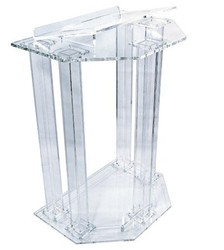 Fixture Displays Podium, Clear Ghost Acrylic w/ 110V Lighted Cross Pulpit, Lectern - Assembled  assembled