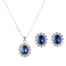 New Luxury Wedding Jewelry Set Silver Plated Bride Blue Austrian Crystal Jewelry Set Women bijoux mariage   1125