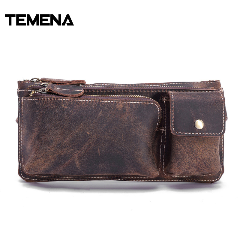 Temena 2017 Men Travel Bag Genuine Leather Bag Men Waist Pack Crazy Horse Leather Waist Bag Fanny Pack Waist Belt Bag SacoAWP538 waist bag