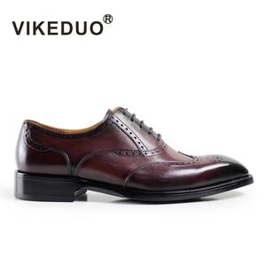 VIKEDUO/винтажные мужские туфли-оксфорды ручной работы на заказ; Вечерние модельные туфли Goodyear; Мужские туфли-Броги из натуральной кожи; 2020