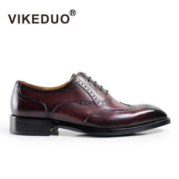 VIKEDUO 2020 Vintage Patina Men Oxford Shoes Handmade Custom Goodyear Welted Party Dress Shoe Male Genuine Leather Brogue Zapato