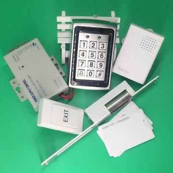 Door Access Control Metal Case RFID Keypad +Metal Narrow type Electric Strike Lock NC +12V3A Power Supply+Door Bell+RFID EM Card