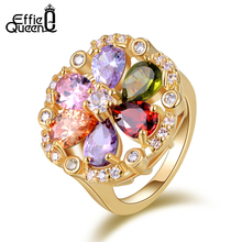 Effie Queen New Fashion AAA Multi-color Cubic Zircon Wedding Jewelry Rose Gold Plated Finger Ring for Women DDR03