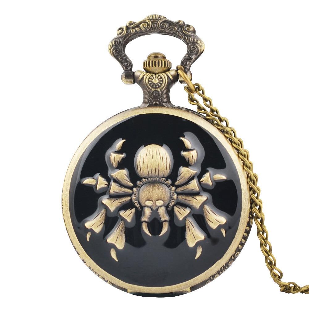 IBEINA Theme Full Hunter Quartz Engraved Fob Retro Pendant Pocket Watch Chain Gift