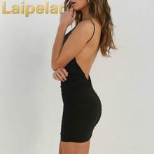 Laipelar 2018 New Sexy Deep V Neck Solid Dress Elegant Lady Backless Party Dresses White Black Nightclub Vestido Mini