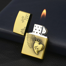 Love Eagle Light Metal Emery Wheel Gas Lighter Mens Gift of Merchandise and Smoking Gccessories