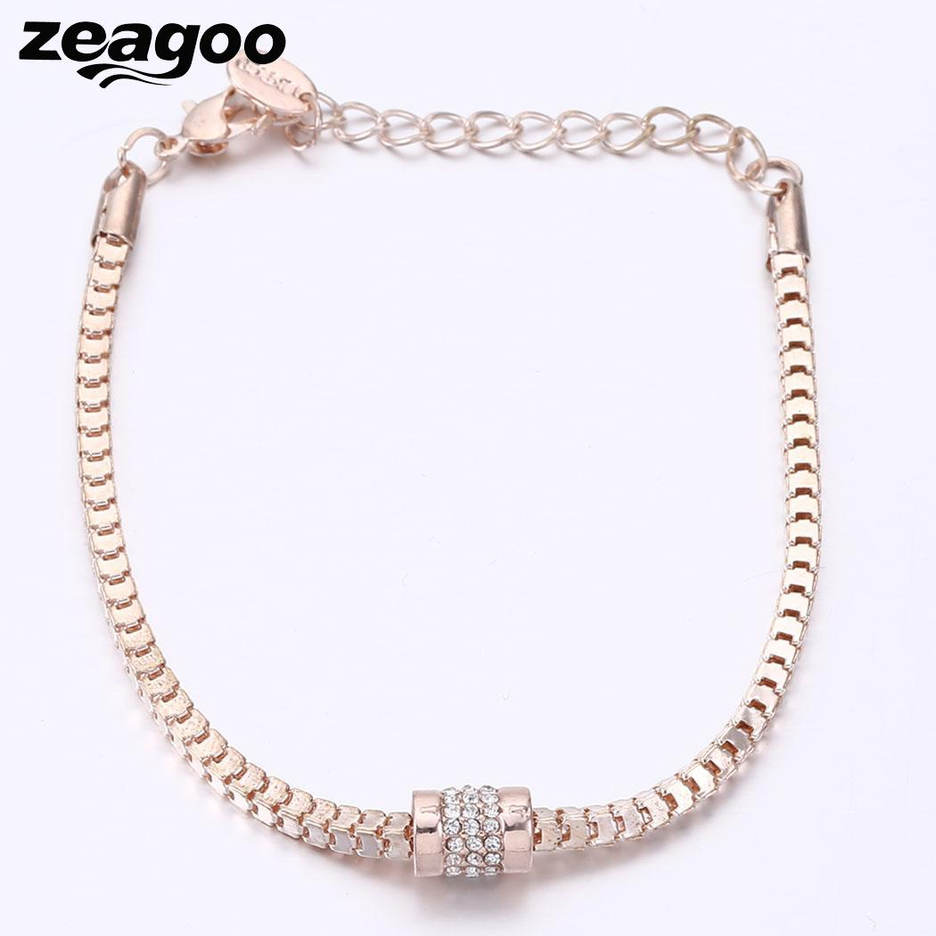 96inch Jewelry Women 1 Snake Wedding Gold Fashion Chain Rose Rhinestones Casual Bracelets Party 5cm Charm Plated