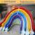 Inflatable biggors três pistas íris escorrega gigante inflável para crianças e adultos