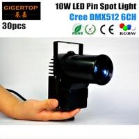 Freeshipping 30 teile/los Bühne Glaskugel Licht 4-farb-led-prozess Mini Pin Spot licht Dmx-steuerung 10 watt RGBW Cree LED American DJ Club
