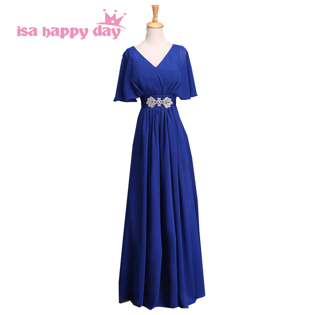 2019 modest blue floor length v neck fashion ladies elegant   dress   cap sleeve women formal   bridesmaid     dresses   for guests H3129