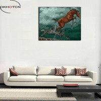 OKHOTCN Artwork Animals Wolves And Horses Painting On Canvas Home Decor Wall Art Framed DIY Oil