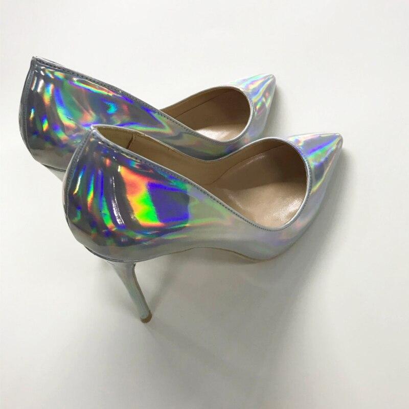 Marque De Pompes Haute Luxe Chaussures Heel Pointu Mince En 8cm 10cm Verni Talons Bout Coloré Heel Nouveau Femmes Heel Lady Shinny Cuir Sandales 8cm Argent Designer Sexy qEZP7O