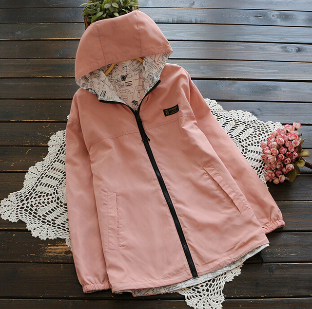 Women Both Sides Wear Hooded Outwear Jackets and Coats spring autumn Fashion waterproof Slim women Coat D817