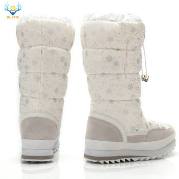 2019 Winter boots High Women Snow Boots plush Warm shoes Plus size 35 to big 42 easy wear girl white zip shoes female hot boots 1