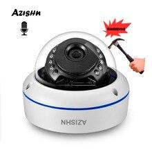 オーディオマイク H.265 2MP 5MP IP カメラセキュリティ ONVIF PTP 警告 15IR ナイトドーム金属監視カメラ AZISHN