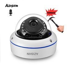 ไมโครโฟนเสียง H.265 2MP 5MP กล้อง IP กล้องวิดีโอความปลอดภัย ONVIF PTP Alert 15IR Night โดมโลหะการเฝ้าระวังกล้อง AZISHN