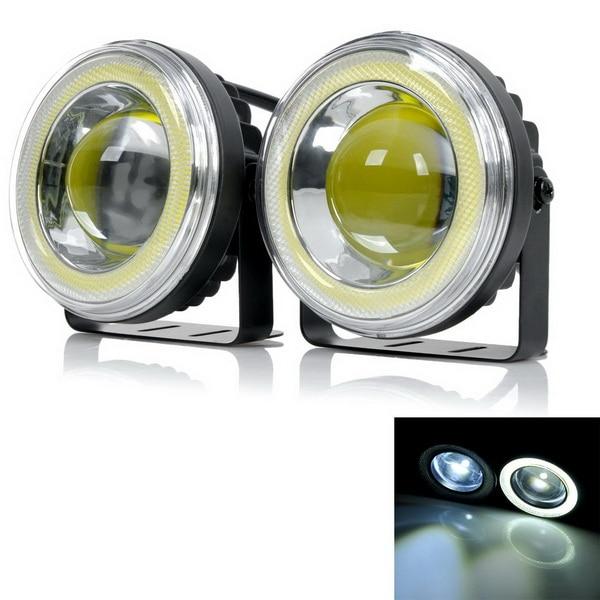 цена на exLED 20W COB 6500K 1500lm 9.5cm White Car Fog Light Daytime Running Lamp 12~24V 2 PCS