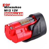 2.0Ah 12 v 12 Vlot M12 Ion Accu-gereedschap Batterij voor Milwaukee 48-11-2401 48-11-2402 48-11-2411 M12 XC GRATIS SCHIP