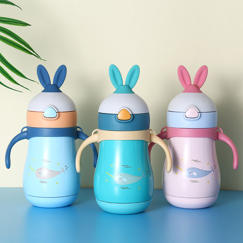 <font><b>Baby</b></font> Feeding Cup 316 Stainless Steel Rabbit Cup Thermos With Handle Strap Insulated Milk water Bottle leak-<font><b>poof</b></font> Cup 280ML image