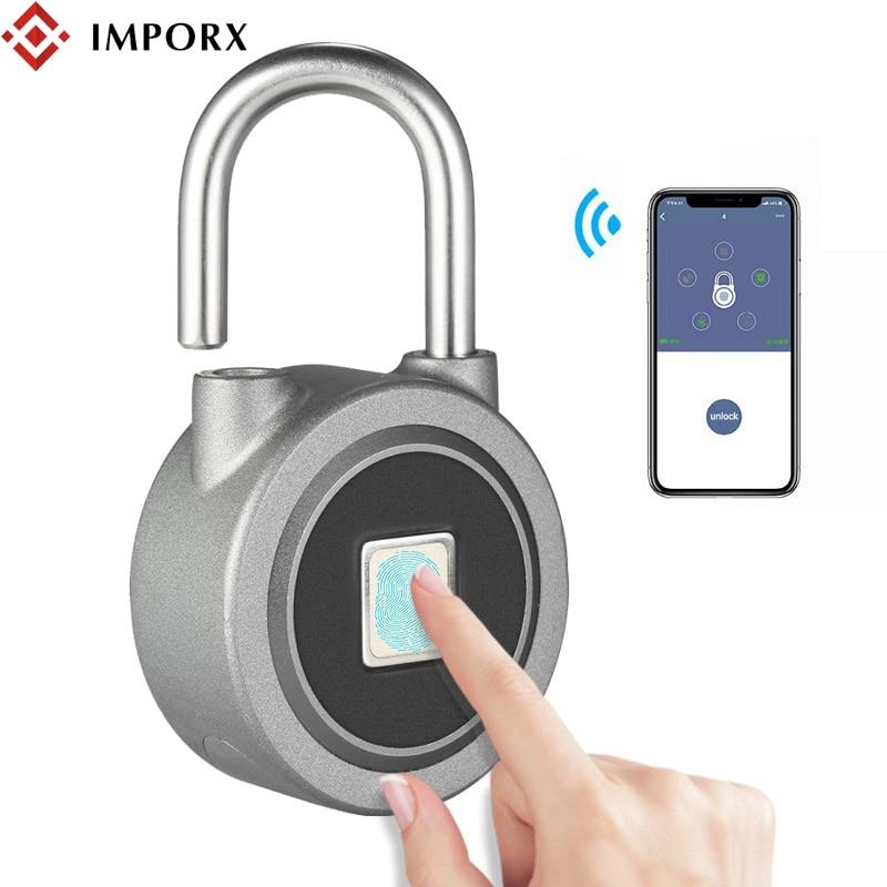IMPORX Fingerprint Smart Keyless Lock Waterproof APP Button Password Unlock Anti-Theft Padlock Door Lock For Android iOS System