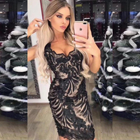 New Style Black Lace Dress High Quality Spaghetti Strap Floral Bodycon Summer Mini Sexy Clubwear Party Dress Vestidos Whlesale
