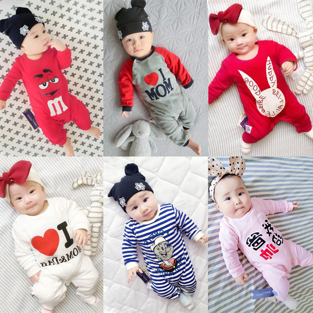 5212ada2d912 Spring Autumn Baby Girl Rompers newborn Boys Long Sleeve Jumpsuit ...