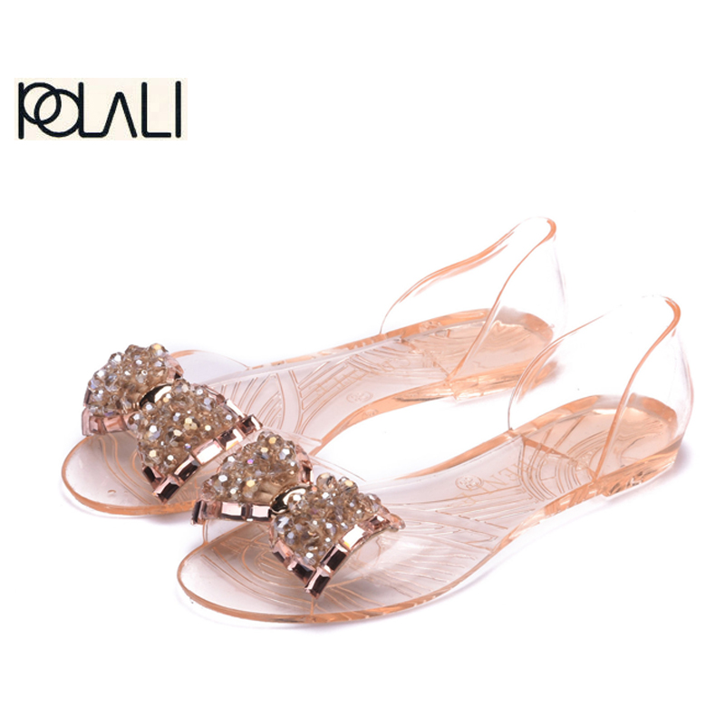 455be949fcd6 Aliexpress.com   Buy Women Sandals Summer Bling Bowtie Fashion Peep Toe  Jelly Shoes Sandal Flat Shoes Woman 2 Colors Size 36 40 XWZ722 from  Reliable jelly ...