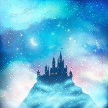 Céu azul Crescente Estrelas do Glitter Chuveiro Do Bebê Recém-nascido Adereços Fotografia Backdrops Bokeh Polka Dots Crianças Castelo Fotografia Fundos
